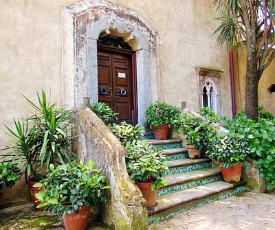 Italian Door And Staircase In Ravello Poster by Marilyn Dunlap