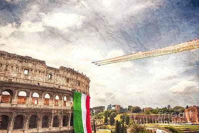 Italian Flag In Rome Poster