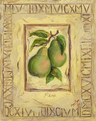 Italian Fruit Pears Poster by Marilyn Dunlap