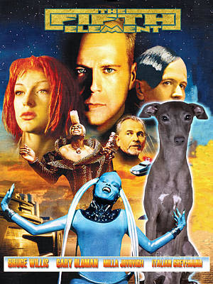 Italian Greyhound Art Canvas Print - The Fifth Element Movie Poster Poster by Sandra Sij