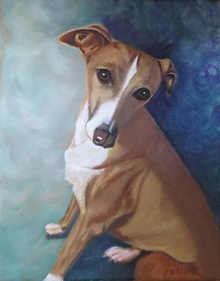 Poster featuring the painting Italian Greyhound by Sharon Schultz