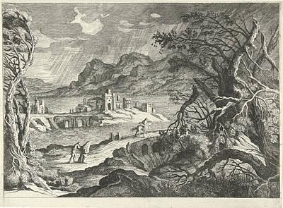 Italian Landscape In The Storm, Willem Van De Lande Poster