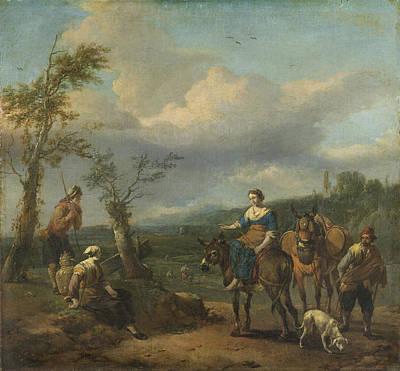 Italian Landscape With Figures, Johannes Lingelbach Poster