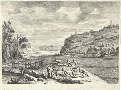 Italian Landscape With Fishermen, Print Maker Willem Van De Poster