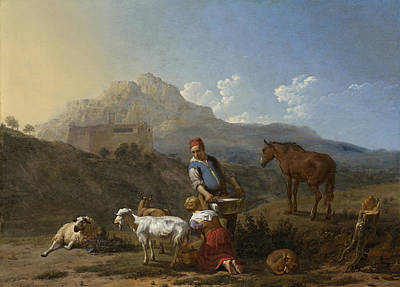 Italian Landscape With Girl Milking A Goat Poster