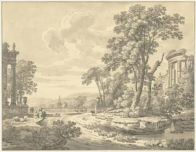 Italian Landscape With Ruins, Johann Heinrich Müntz Poster