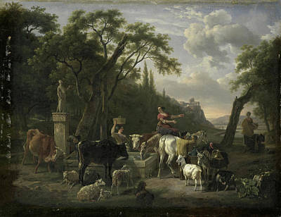 Italian Landscape With Shepherds And Animals At A Fountain Poster