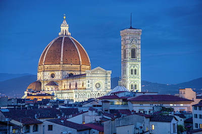 Italy, Florence, Cathedral, Duomo, Night Poster