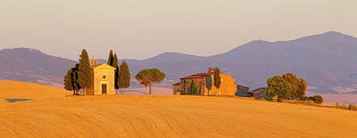 Italy, Tuscany Little Chapel At Sunset Poster