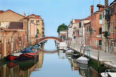 Italy, Venice View Of Boats And Homes Poster by Jaynes Gallery