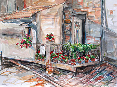 Poster featuring the painting Italy Visit Over The Window by Becky Kim