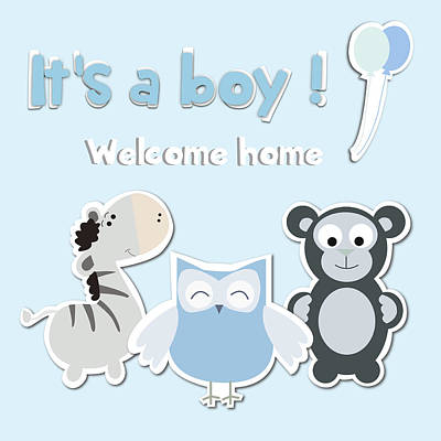 Its A Boy Poster by Gina Dsgn