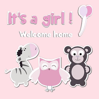 Its A Girl Poster by Gina Dsgn