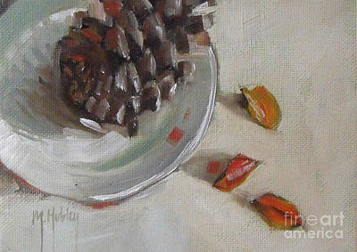 Pine Cone Still Life On A Plate Poster by Mary Hubley