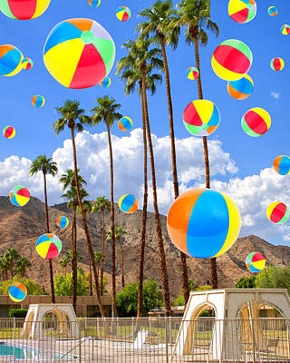 Its Raining Beach Balls Palm Springs Poster by William Dey