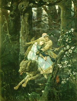 Ivan Tsarevich Riding The Grey Wolf, 1889 Oil On Board Poster by Victor Mikhailovich Vasnetsov