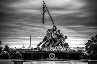 Iwo Jima Monument Black And White Poster