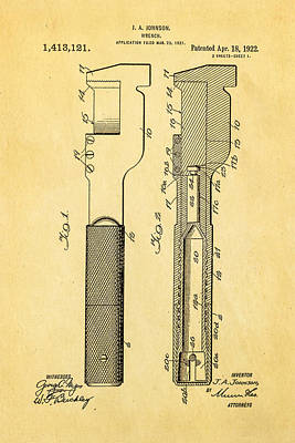 Jack Johnson Wrench Patent Art 1922 Poster by Ian Monk