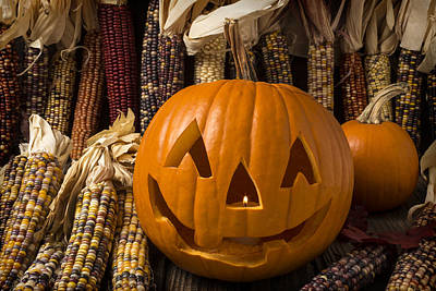 Jack-o-lantern And Indian Corn  Poster