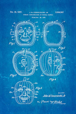 Jack O Lantern Pumpkin Mould Patent Art 1937 - Halloween - Bluep Poster by Ian Monk