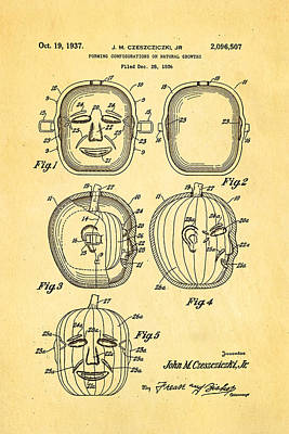 Jack O Lantern Pumpkin Mould Patent Art 1937 - Halloween Poster by Ian Monk