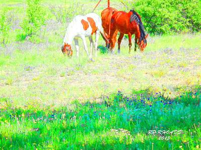 Poster featuring the digital art Jack Smokey And Camelot Texas Spring A by Robert Rhoads