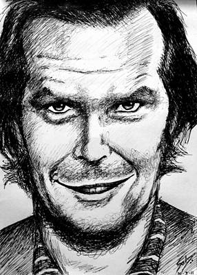 Poster featuring the drawing Jack Nicholson #2 by Salman Ravish