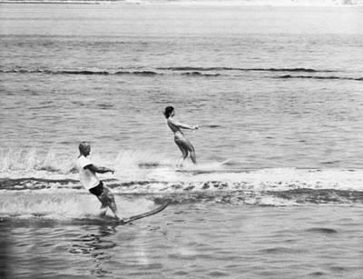 Jackie & John Glenn Water Ski Poster by Underwood Archives