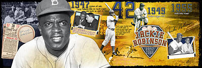 Jackie Robinson Panoramic Poster by Retro Images Archive