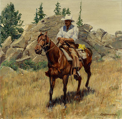 Jackson Hole George On His Horse Poster by Don  Langeneckert