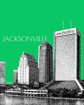 Jacksonville Florida Skyline - Green Poster by DB Artist
