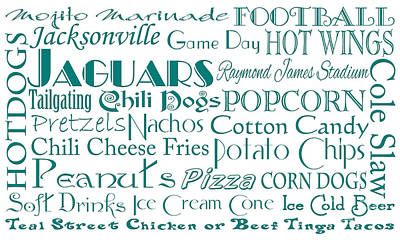 Jacksonville Jaguars Game Day Food 1 Poster by Andee Design