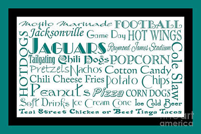 Jacksonville Jaguars Game Day Food 2 Poster by Andee Design