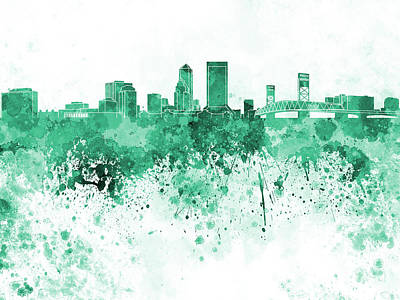 Jacksonville Skyline In Green Watercolor On White Background Poster by Pablo Romero