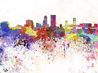 Jacksonville Skyline In Watercolor On White Background Poster by Pablo Romero