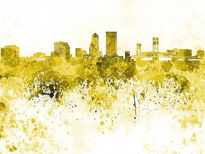 Jacksonville Skyline In Yellow Watercolor On White Background Poster by Pablo Romero