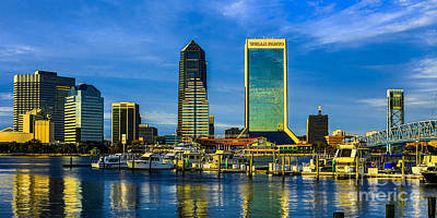 Jacksonville Skyline Sunset Poster by Paula Porterfield-Izzo