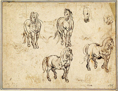 Jacques Callot After Antonio Tempesta, Studies Of Horses Poster by Quint Lox