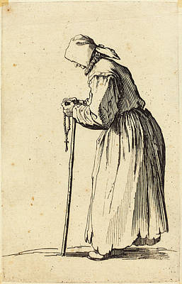 Jacques Callot French, 1592 - 1635, Beggar Woman With Rosary Poster