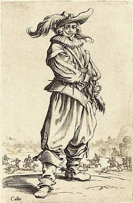 Jacques Callot French, 1592 - 1635, Soldier With Feathered Poster