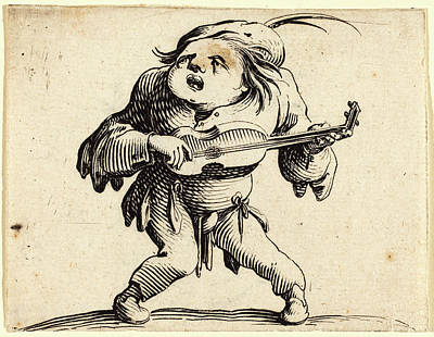 Jacques Callot, French 1592-1635, The Guitar Player Poster by Litz Collection
