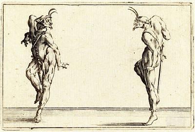 Jacques Callot, French 1592-1635, Two Pantaloons Dancing Poster