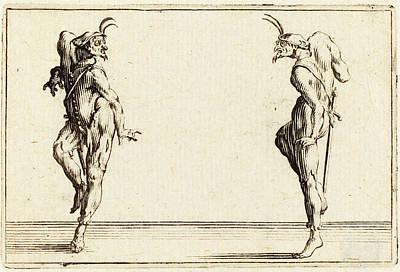 Jacques Callot French, 1592 - 1635, Two Pantaloons Dancing Poster