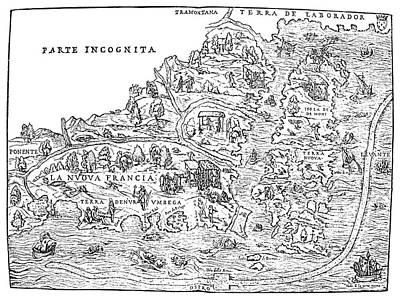 Jacques Cartier Map, 1566 Poster