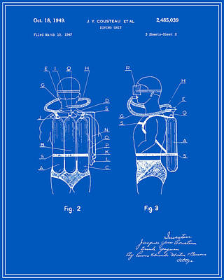 Jacques Cousteau Diving Gear Patent - Blueprint Poster by Finlay McNevin