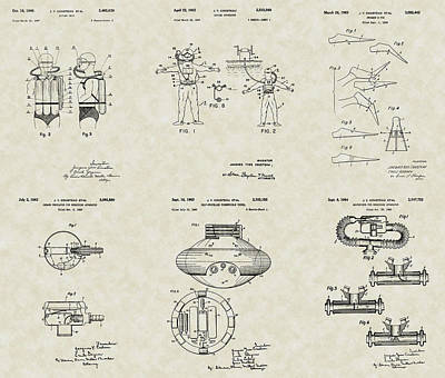 Jacques Cousteau Patent Collection Poster by PatentsAsArt