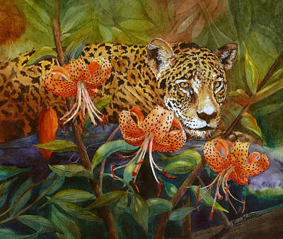 Jaguar And Tigers Poster by Karen Mattson