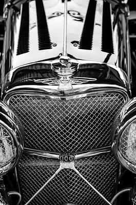 Jaguar Ss 100 Grille Emblem -0544bw Poster by Jill Reger