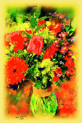Poster featuring the painting J'aime Le Bouquet by Ted Azriel