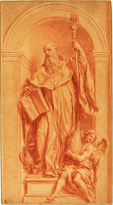 Jakob Frey, Swiss 1681-1752, A Sculpture Of Saint Benedict Poster by Litz Collection